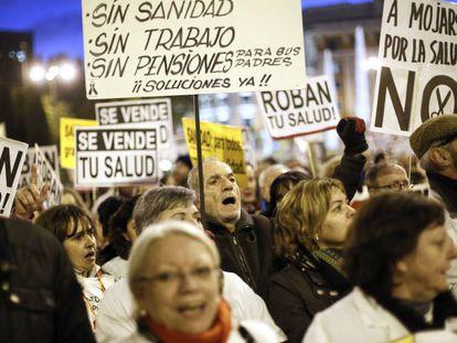 Manifestación contra los recortes sanitarios en Madrid en noviembre de 2012.