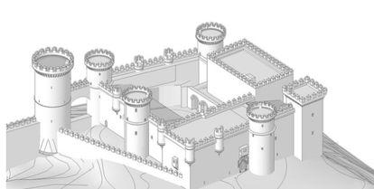 Reconstrucción digital del castillo de Aguilar, en 2008, cuando aún no se habían realizado las excavaciones arqueológicas.