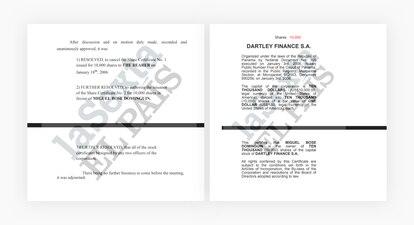 Extractos de los documentos que acreditan la transmisión de las acciones de Dartley Finance SA EL PAÍS / LA SEXTA / ICIJ