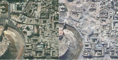 Dos imágenes tomadas por satélite de la ciudad siria de Alepo, el 21 de noviembre de 2010 (izquierda) y el 22 de octubre de 2014 (derecha).
