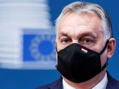 El primer ministro húngaro, Viktor Orbán, a su llegada a la cumbre europea de diciembre de 2020, en Bruselas.