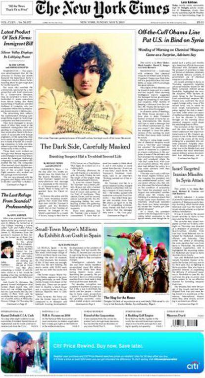 Portada de 'The New York Times' con el reportaje sobre España.