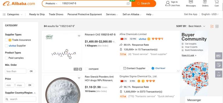 Captura de pantalla de las ofertas de ritonavir en Alibaba.