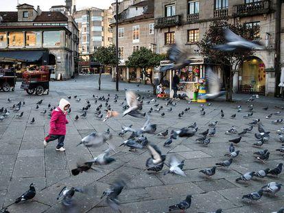 Zona peatonal en la plaza de la Ferrería de Pontevedra.