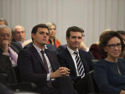 Pablo Casado y Albert Rivera, en acto  en Madrid.