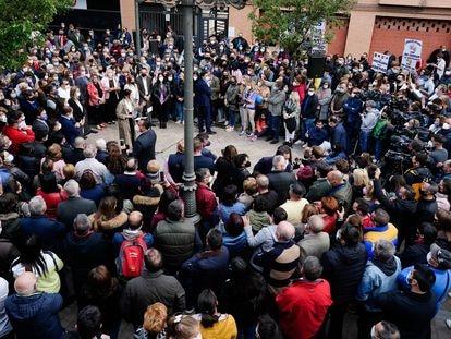 Aspecto que ofrece el acto del PP en el momento en que participa Isabel Díaz Ayuso, el 19 de abril en Fuenlabrada.