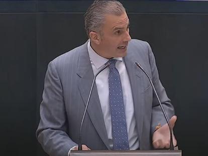 El portavoz de Vox este miércoles en el pleno del Ayuntamiento de Madrid, Javier Ortega, durante su intervención en el debate sobre el estado de la ciudad.