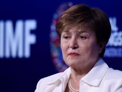 La directora gerente del FMI, Kristalina Georgieva, durante su intervención en las jornadas del Banco Mundial y el FMI en Washington.