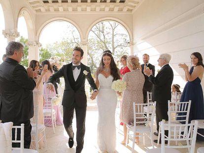 Cesc Fàbregas y Daniella Semaan tras contraer matrimonio.