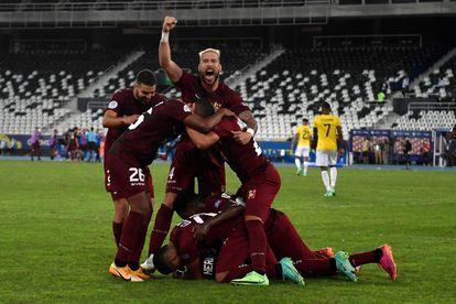 La selección de Venezuela celebra el gol del empate (2-2) frente a Ecuador, en la Copa América.