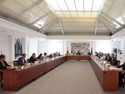 Reunión del Consejo de Ministros en La Moncloa, este sábado.
