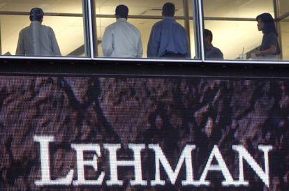 Trabajadores de Lehman Brothers el día de su quiebra