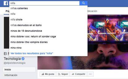 Captura de pantalla del buscador de Facebook.