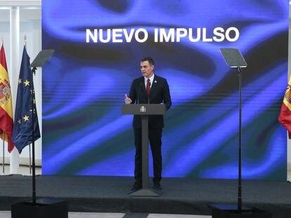 El presidente del Gobierno, Pedro Sánchez, interviene durante la presentación del Plan de Recuperación, Transformación y Resiliencia de la Economía Española, en Madrid, el miércoles.