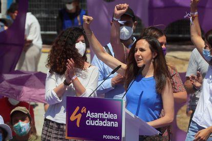 Ione Belarra, durante la segunda y última jornada de la IV Asamblea de Podemos.