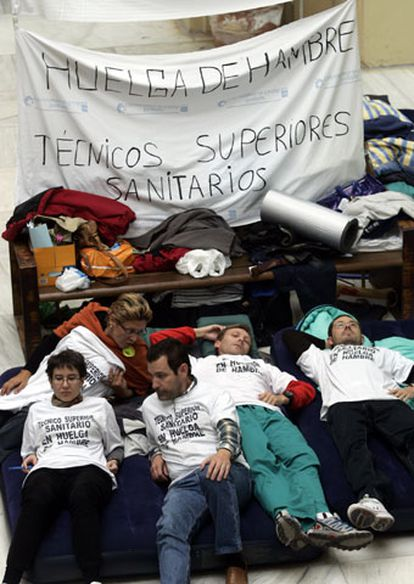 Protesta de los técnicos sanitarios en Madrid.