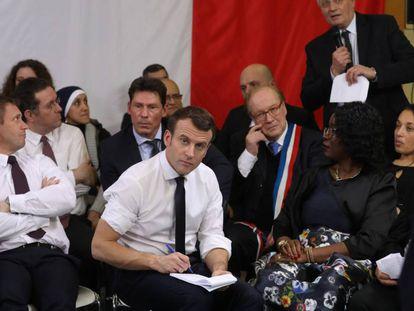 Emmanuel Macron, en el acto de este lunes en Évry-Courcouronnes.