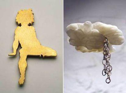 Varias creaciones de la exposición <i>Timetales...,</i> en el Museo Textil de Barcelona.