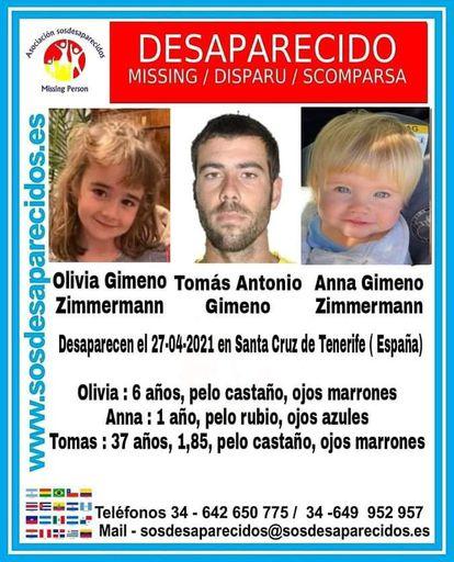 Cartel facilitado por la organización SOS Desaparecidos.