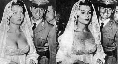La censura añadió un encaje sobre el escote que tenía el vestido de Sara Montiel en una de las galas del Festival de Venecia