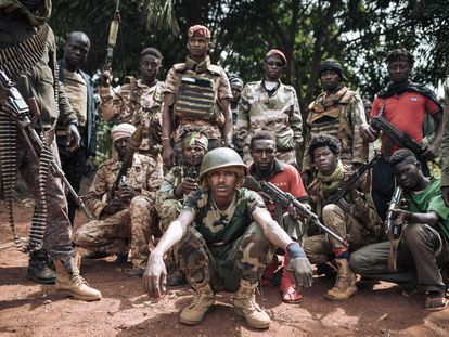 Unos milicianos de la Coalición de Patriota por el Cambio, el sábado en el sur de República Centroafricana.