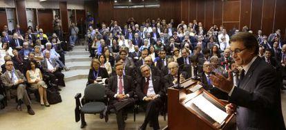 Artur Mas, durante un momento de la conferencia que ha pronunciado en hoy en la facultad de Derecho de Tel Aviv.