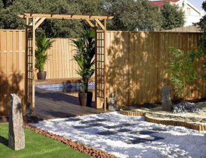 Jardín de ambiente Zen, de Leroy Merlin.