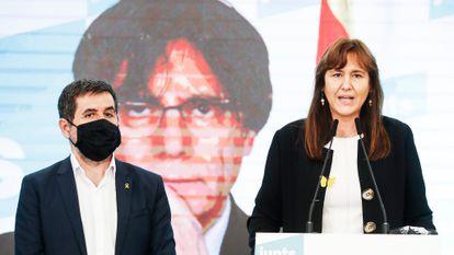 Comparecencia de Laura Borràs y Jordi Sanchez el 14 de febrero tras los resultados.
