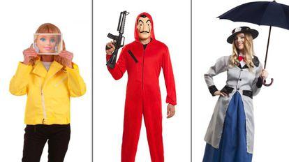 De izquierda a derecha: disfraz de La Vecina Rubia, atracador de 'La Casa de Papel' y traje inspirado en Mary Poppins