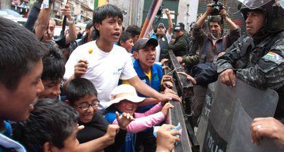 Protesta por el trabajo infantil en Bolivia.