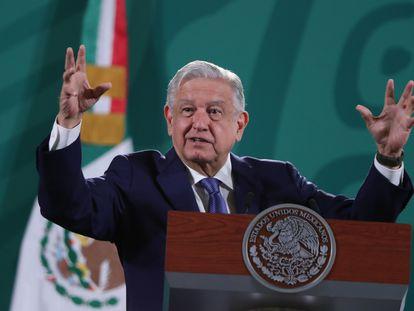 El presidente de México, Andrés Manuel López Obrador, en una conferencia este lunes.