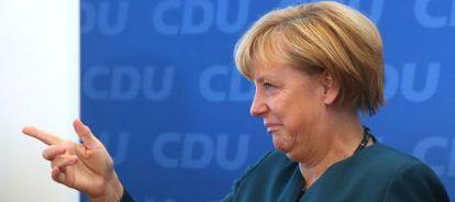 La canciller alemana, Angela Merkel, a su llegada a la reunión de la CDU en Berlín.