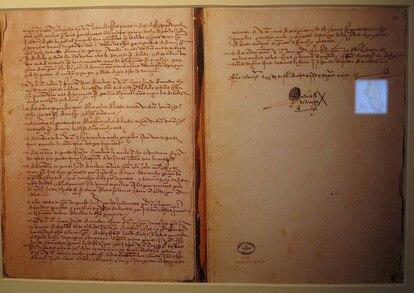 Última página del diario de Andrés de Urdaneta.
