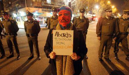 Manifestación a favor del aborto en Santiago de Chile