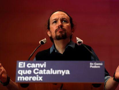 Pablo Iglesias durante el acto central de campaña de En Comú Podem para las elecciones catalanas del 14-F en Santa Coloma (Barcelona).