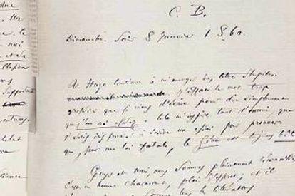 Fragmento de la carta de Baudelaire donde arremete contra Víctor Hugo.