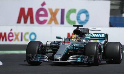 Hamilton, durante la clasificación en el Gran Premio de México.