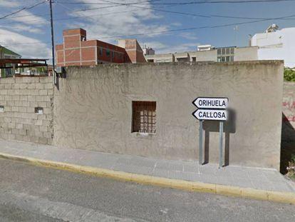La calle de la discordia entre Orihuela y Rafal, en Alicante. GOOGLE MAPS
