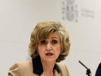 La ministra de Sanidad, Consumo y Bienestar Social, María Luisa Carcedo, en la rueda de prensa para presentar los presupuestos de su departamento.