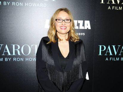 Nicoletta Mantovani, viuda de Luciano Pavarotti, en el estreno del documental 'Pavarotti', en Nueva York en mayo.