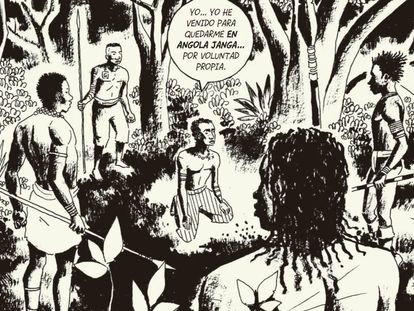 Viñeta del cómic 'Angola Janga', que narra la historia de los esclavos que fundaron un reino propio en Brasil en el siglo XVII, de Marcelo D'Salete.