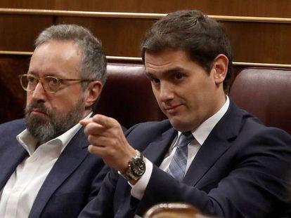 Albert Rivera, durante la segunda jornada de la moción de censura presentada por el PSOE contra Mariano Rajoy.