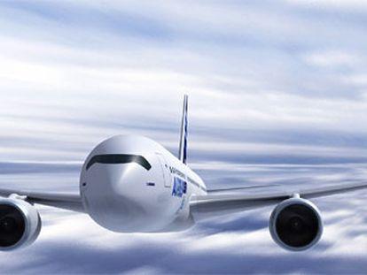 Maqueta del A-350 de Airbus.