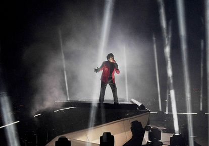 The Weeknd, in a performance at the MTV Video Music Awards in August 2020 in New York.