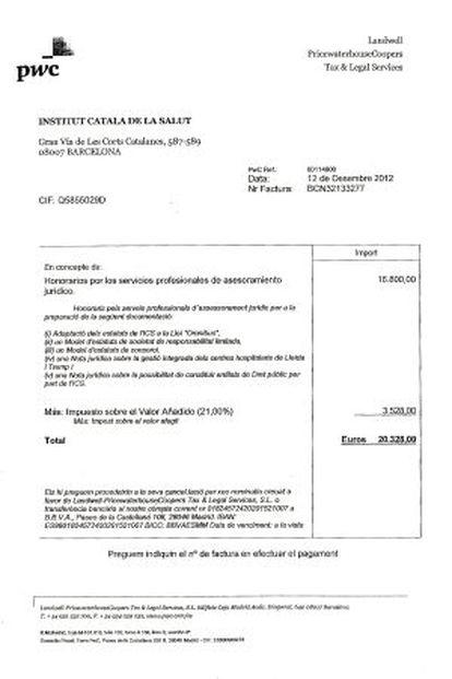 Factura de PWC por los servicios prestados al ICS.