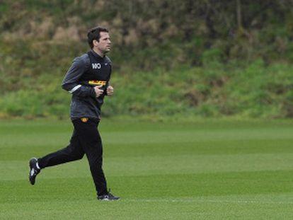 Michael Owen, en un entrenamiento del Manchester United.