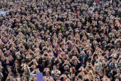 Concentracion de mujeres en Bilbao el pasado 8 de Marzo.