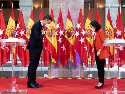 El presidente del Gobierno, Pedro Sánchez, y la presidenta madrileña, Isabel Díaz Ayuso, el pasado 21 de septiembre.