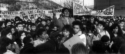 A protest in Aravaca in the wake of the killing of Lucrecia Pérez.