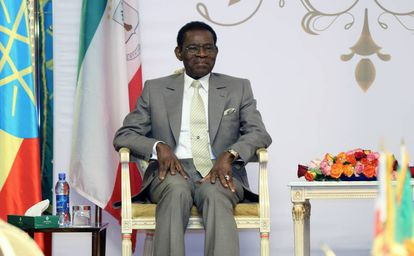 El dictador ecuatoguineano,Teodoro Obiang, en una visita a Addis Abeba (Etiopía) este jueves.